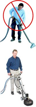 Cleaning with a manual scrub wand vs. cleaning with a Rotovac 360i